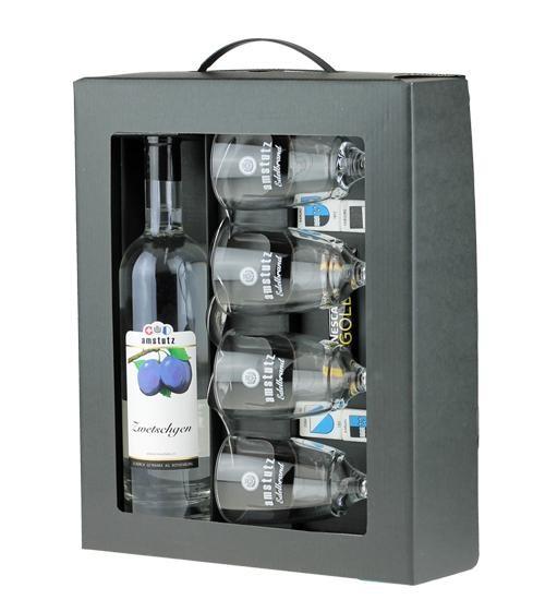 amstutz Edelbrand KAFI-LUTZ Komplettset ZWETSCHGEN inkl. 4 Gläser und Löffel 50 cl / 40 % Schweiz