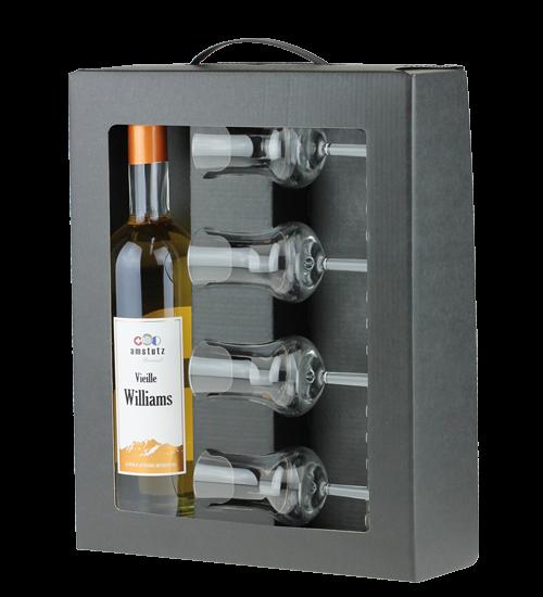 amstutz Edelbrand DIGESTIF - SET mit VIEILLE WILLIAMS inkl. 4 Gläser und schöner Verpackung 50 cl /
