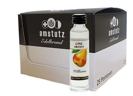 amstutz Edelbrand WILLIAMS PORTION Box 25 x 2 cl / 40 % Schweiz