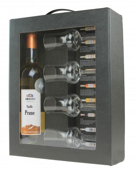 amstutz Edelbrand DIGESTIF - SET mit VIEILLE PRUNE inkl. 4 Gläse und schöner Verpackung 50 cl / 41.5