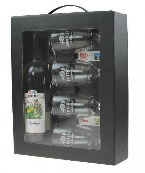 amstutz Edelbrand KAFI-LUTZ Komplettset CHRÜTER inkl. 4 Gläser und Löffel 50 cl / 40 % Schweiz